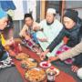 Local Muslims enjoying halal gyoza (dumplings)