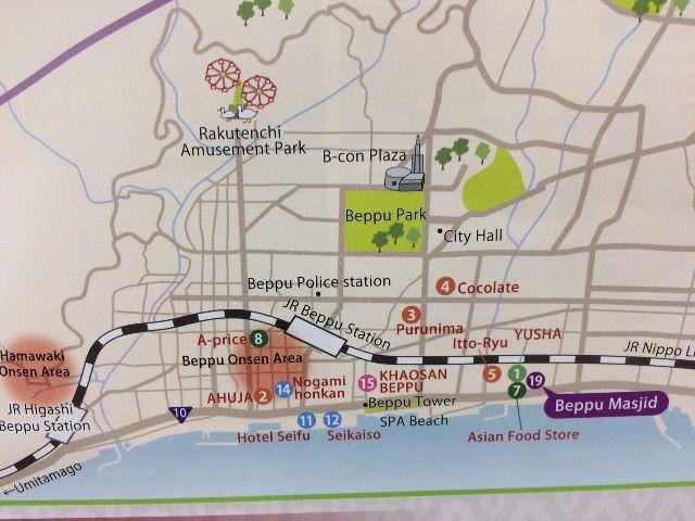 Muslim Friendly Map In Beppu City Halal Media Japan Latest - Japan map beppu