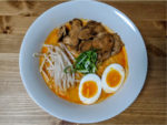 White Broth Chicken Ramen: Soy milk and apple juice was used for pork broth and sake substitutes