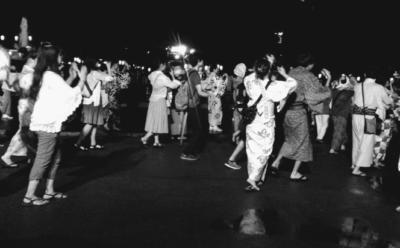 photo:Yagura, at the night festival of Hibiya Park