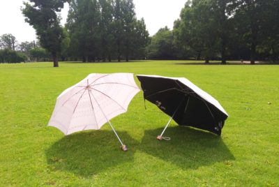 UV cut umbrellas. Left is for sunny day only, right is for both sunny and rainy day