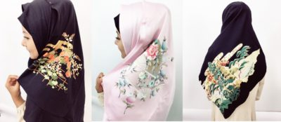Hijab with Japanese pattern (made from kimono material)