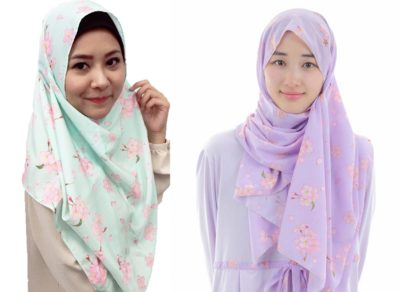 Cherry blossom pattern hijab